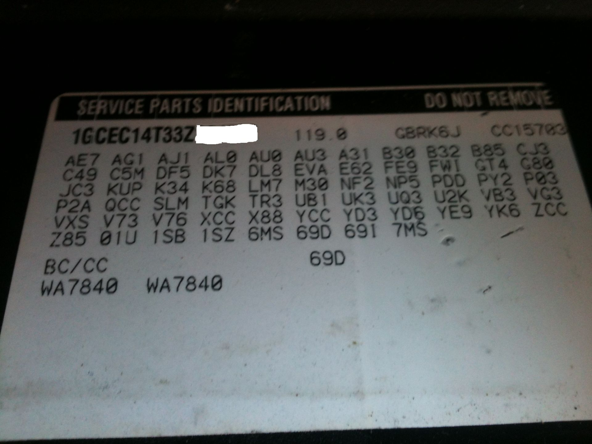 SilveradoSierra com • Factory build sheet : Uncategorized