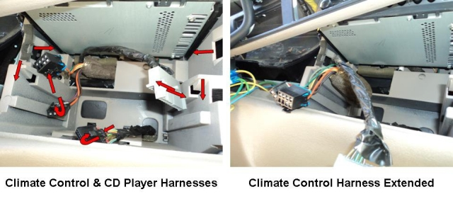 1) if the vehicle is equipped with a cd player, remove it by pressing down  on the release tabs on both sides and pull it out  unplug the harness from  the